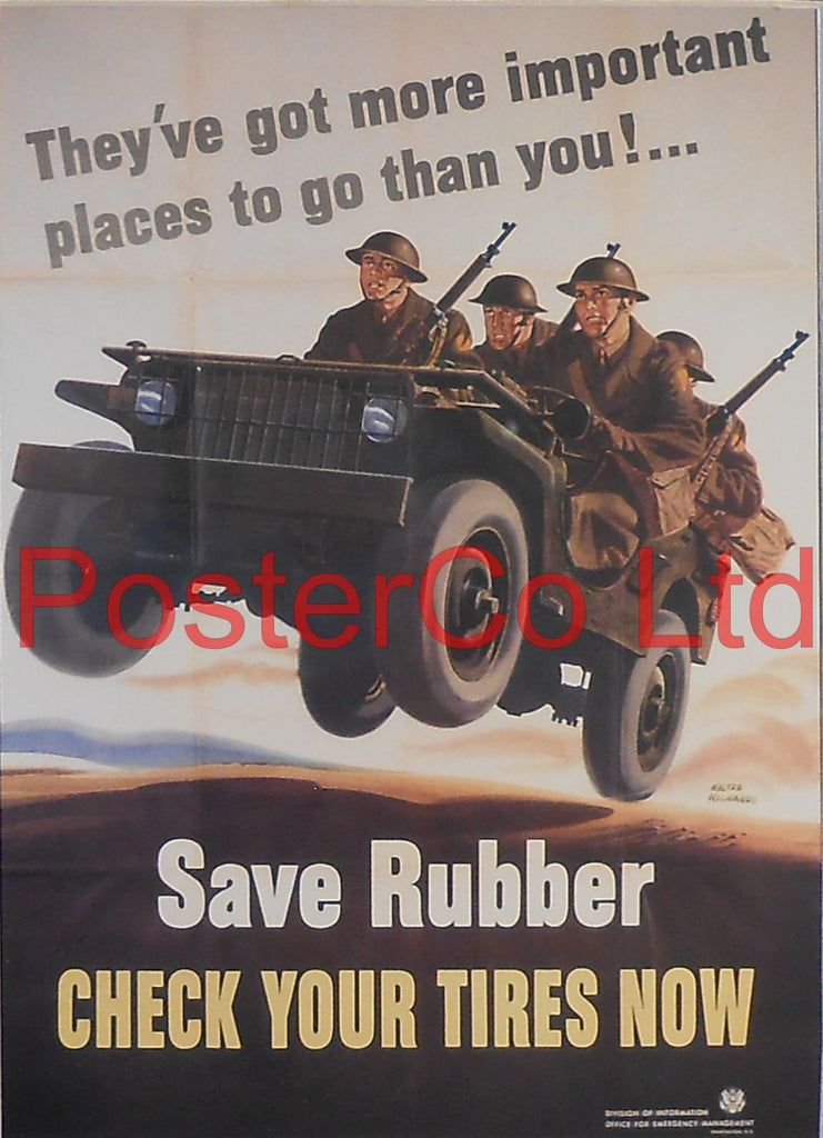 "American WWII Propaganda Poster - Army - Save Rubber - Framed Picture - 14""H x 11""W"