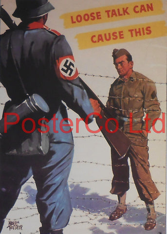 "American WWII Propaganda Poster - Army - Loose Talk warning - Framed Picture - 14""H x 11""W"