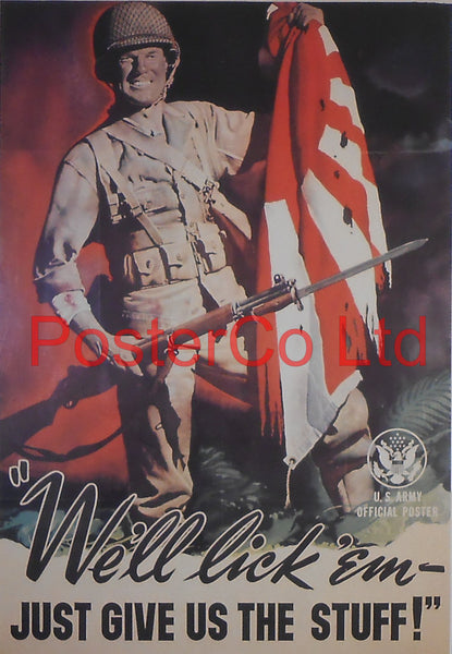 "American WWII Propaganda Poster - Civilian / Army - Production - Framed Picture - 14""H x 11""W"
