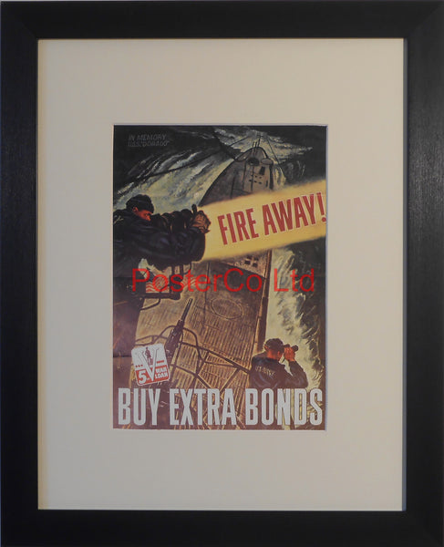 "American WWII Propaganda Poster - War Bond advert - Framed Picture - 14""H x 11""W"