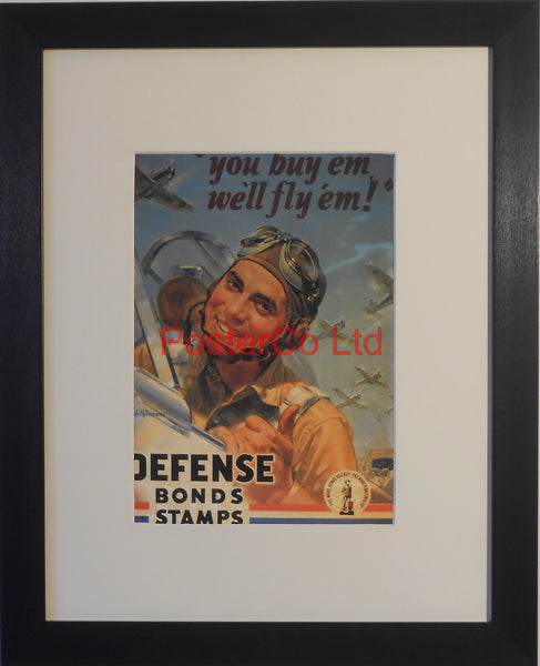 "American WWII Propaganda Poster - Airforce War Bond advert - Framed Picture - 14""H x 11""W"