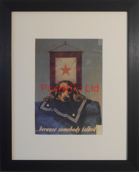 "American WWII Propaganda Poster - Loose Talk warning - Framed Picture - 14""H x 11""W"