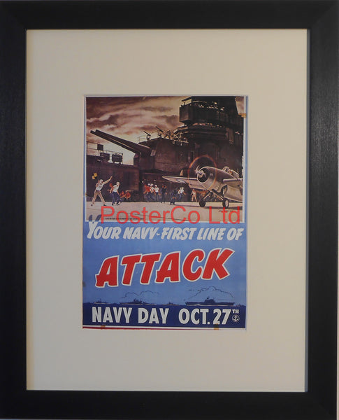 "American WWII Propaganda Poster - Navy Day - Framed Picture - 14""H x 11""W"