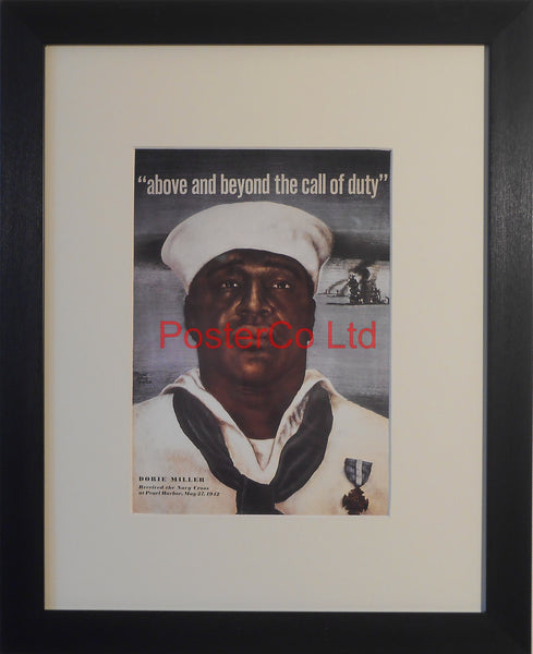 "American WWII Propaganda Poster - Navy recruitment - Framed Picture - 14""H x 11""W"