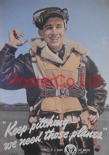 "American WWII Propaganda Poster - Civilian / Airforce - Production - Framed Picture - 14""H x 11""W"