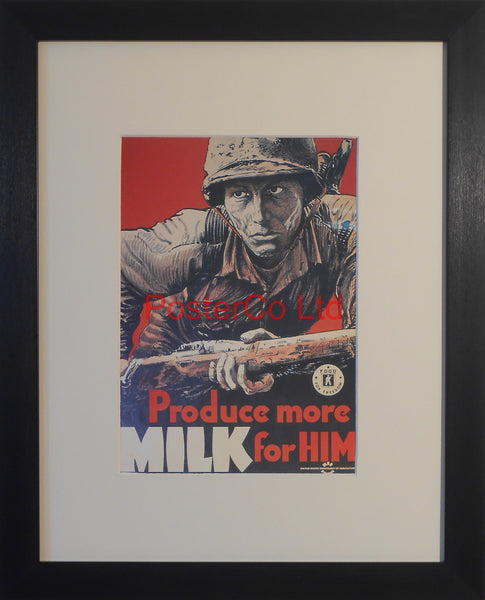 "American WWII Propaganda Poster - Army - Milk Production - Framed Picture - 14""H x 11""W"