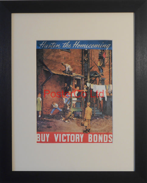 "American WWII Propaganda Poster - Victory Bond advert - Framed Picture - 14""H x 11""W"