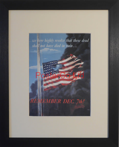 "American WWII Propaganda Poster - Navy - Commemoration of Pearl Harbor- Framed Picture - 14""H x 11""W"