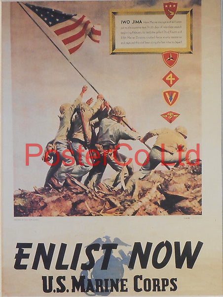"American WWII Propaganda Poster - Marines - Recruitment - Framed Picture - 14""H x 11""W"