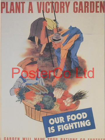 "American WWII Propaganda Poster - Civilian - Food Production - Framed Picture - 14""H x 11""W"