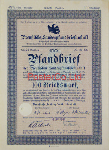 "1937 German Bank Bond (Pfandbrief) 100 Reichsmark - Framed Certificate - 16""H x 12""W"