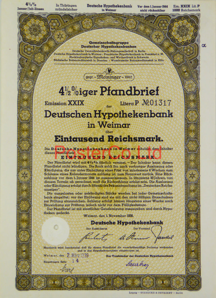 "1939 Mortgage Bank Bond (Pfandbrief) 1000 Reichsmark - Framed Certificate - 16""H x 12""W"