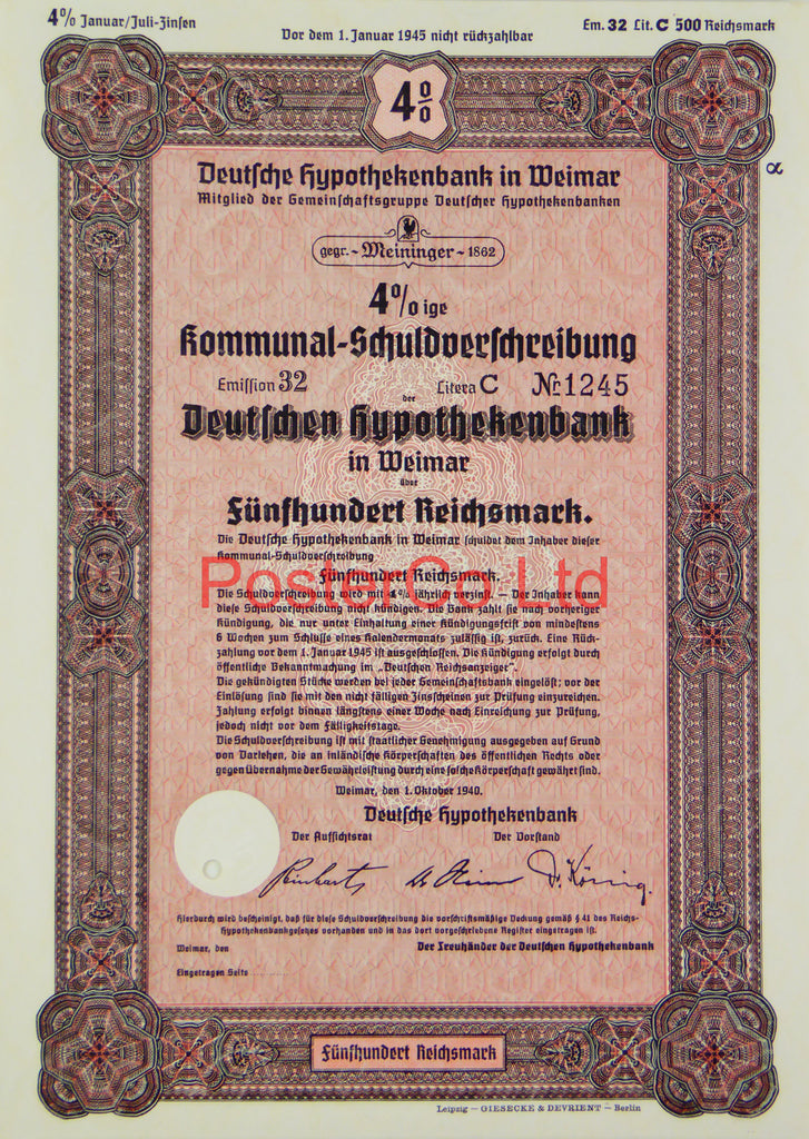 "1940 Mortgage Bank Bond (Pfandbrief) 500 Reichsmark - Framed Certificate - 16""H x 12""W"