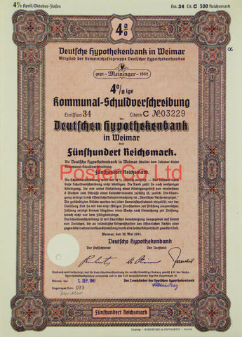 "1941 Mortgage Bank Bond (Pfandbrief) 500 Reichsmark - Framed Certificate - 16""H x 12""W"