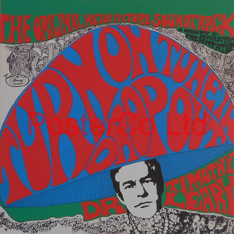 "Dr Timothy Leary - Turn on Tune in Drop out, Original Motion Picture Soundtrack (Album Cover Art) - Framed Picture- 16""H x 16""W"