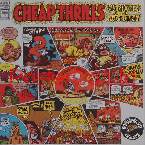 "Big Brother and the Holding Company - Cheap Thrills (Album Cover Art) - Framed Print - 16""H x 16""W"