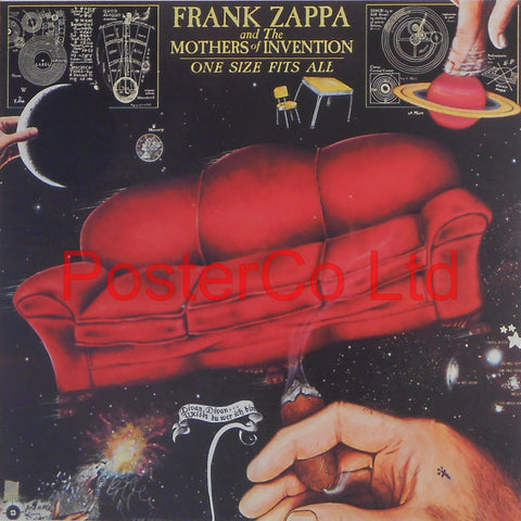 "Frank Zappa and the Mothers of Invention - One Size Fits All (Album Cover Art) - Framed Print - 16""H x 16""W"
