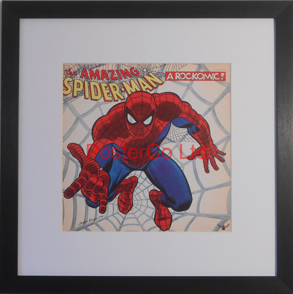 "The Amazing Spiderman - A Rockomic (Album Cover Art) - Framed Print - 16""H x 16""W"