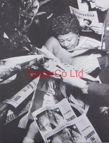 Ella Fitzgerald - signing autographs at the concert series Jazz at the Philharmonic in Vienna'