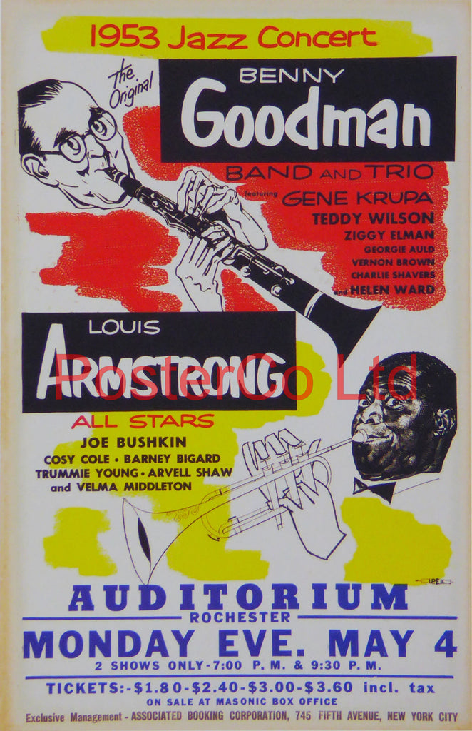 1953 Jazz Concert advert with Benny Goodman and Louis Armstrong