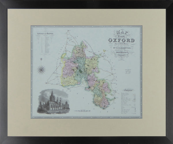 "Oxfordshire Map by C & J Greenwood - Framed Print - 16""H x 20""W"