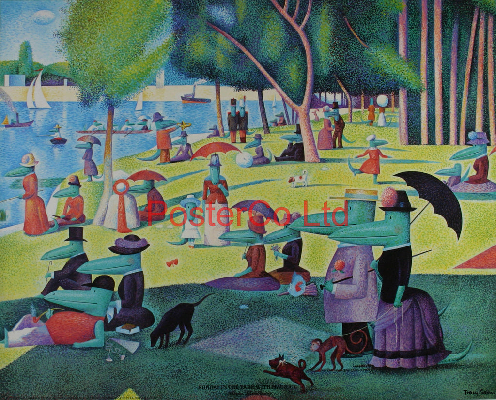 "Tracy Sabin - Sunday in the park with Maurice - Framed Print - 16""H x 20""W"