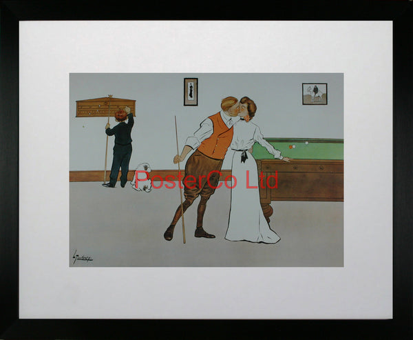 "Kissing (Billiards) - Lance Thackeray - Felix Rose (Vintage 1994) - Framed Print - 16""H x 20""W"