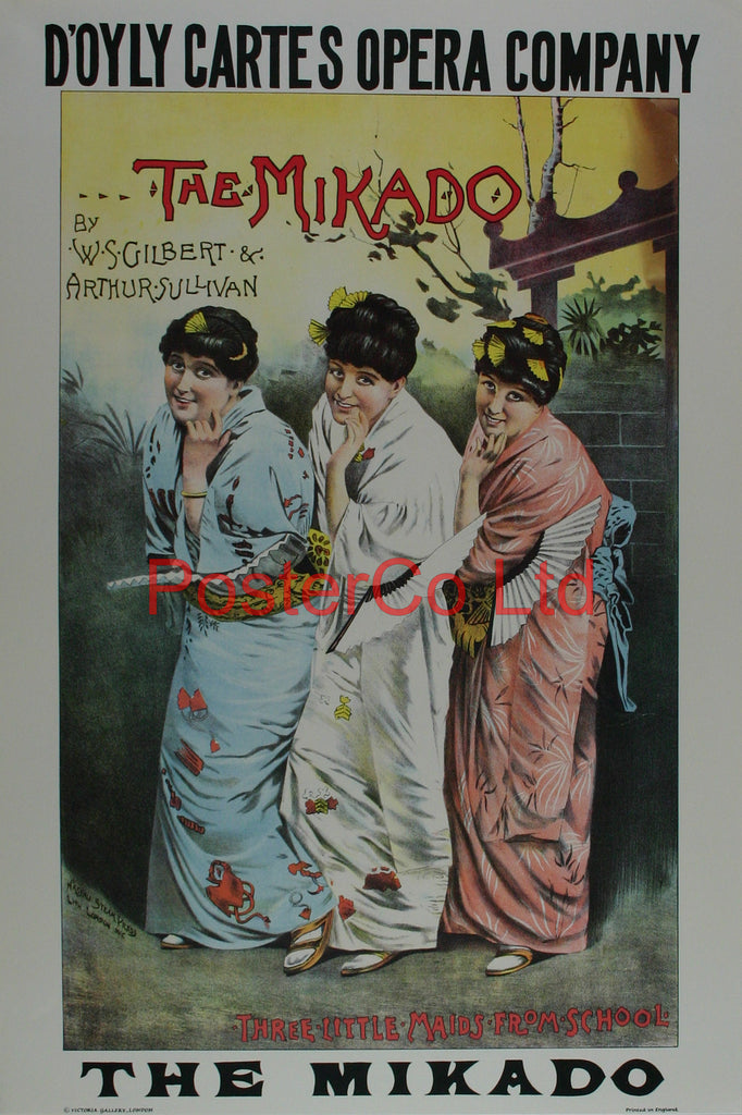 "The Mikado (3 little maids) - D'oyle Cartes Advert - Framed Print - 20""H x 16""W"