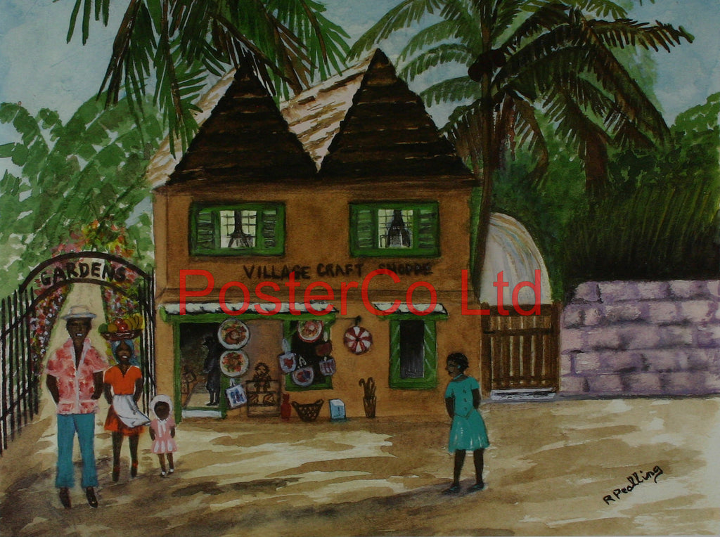 "Village Craft Shoppe (Carribean) - R.Pealing - Framed Print - 16""H x 20""W"