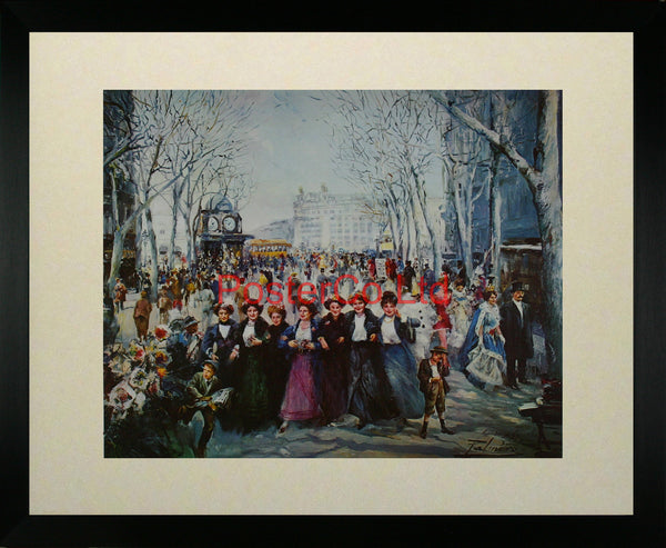 "Ladies in Paris Street - Alfredo Palmero de Gregorio - Framed Print - 16""H x 20""W"