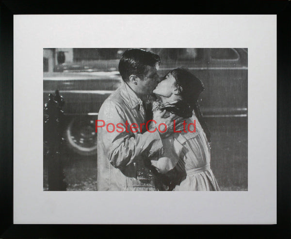 "Breakfast at Tiffany's (Paul Varjak and Holly Golightly kissing Scene) - Kingfisher Publishing - Framed Print - 16""H x 20""W"