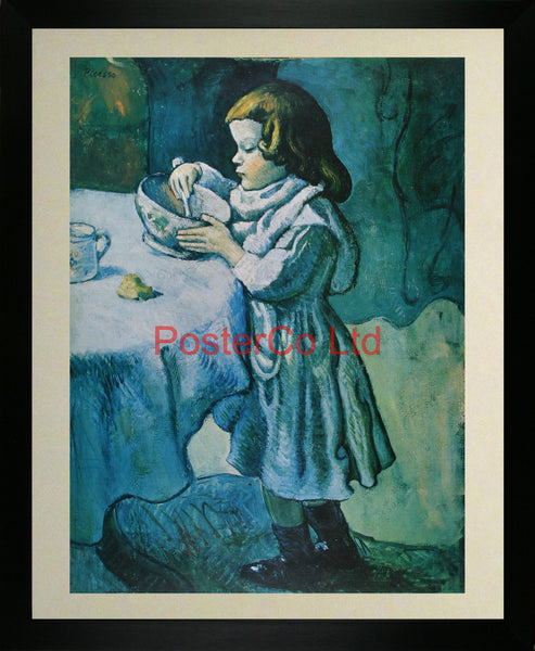 "Le Gourmet (The Greedy Child) - Pablo Picasso (Blue Period) - Dyad Printing - Framed Print - 20""H x 16""W"