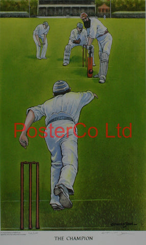 "Cricket - The Champion - Edward John - (Limited Numbered and Signed Edition) - Framed Print - 20""H x 16""W"