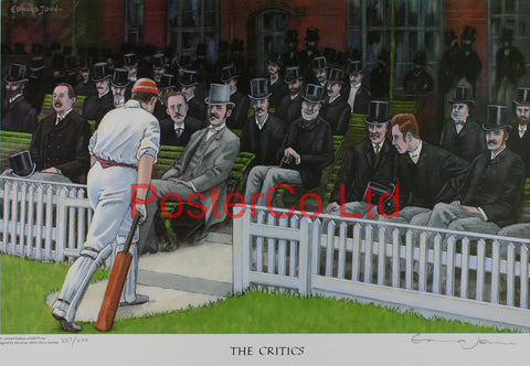 "Cricket - The Critics - Edward John - (Limited Numbered and Signed Edition) - Framed Print - 16""H x 20""W"