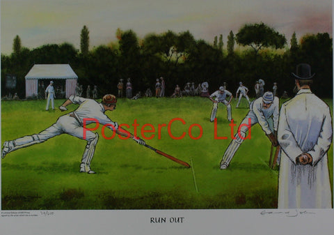 "Cricket - Run Out - Edward John - (Limited Numbered and Signed Edition) - Framed Print - 16""H x 20""W"