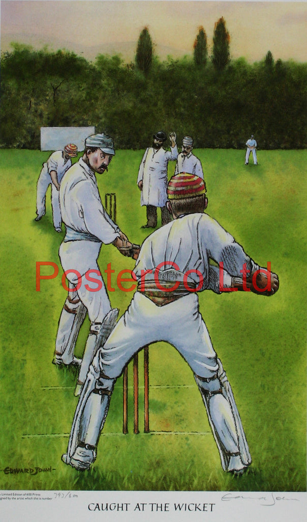 "Cricket - Caught at the wicket - Edward John - (Limited Numbered and Signed Edition) - Framed Print - 20""H x 16""W"