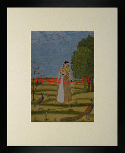 "Lady with peacocks - anon - Framed Print - 20""H x 16""W"
