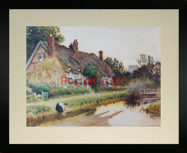 "A country cottage by the river - Arthur Claude Strachan - Framed Print - 16""H x 20""W"