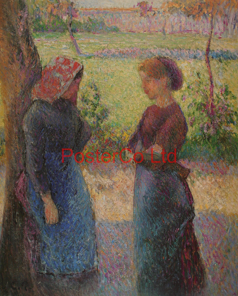 "A chance meeting - Camille Pissarro - Framed Print - 20""H x 16""W"
