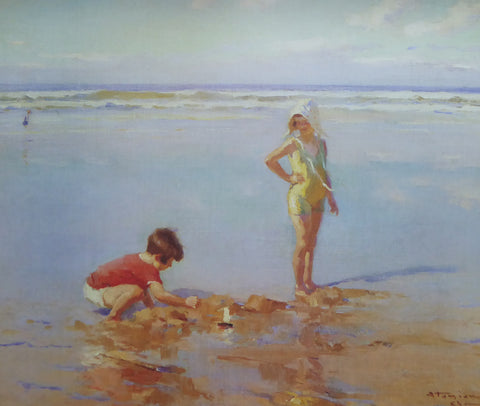 Childrern at the Beach Charles Garabed Atamain (1991 Felix Rosentiels Widow and Son) (Genuine and Vintage)