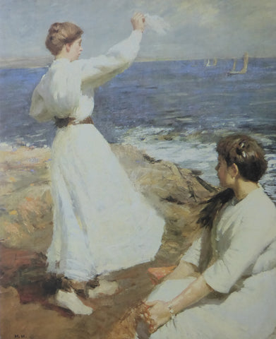 Farewell (Lady waving goodbye) Harold Harvey (1988 Royle Publications) (Genuine and Vintage)