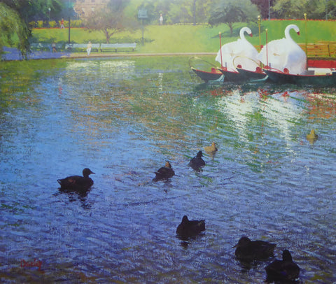 Ducks in the Boston Public Garden Thomas R Dunlay 1988 Waterline Publications (Genuine and Vintage) Crate3 B8