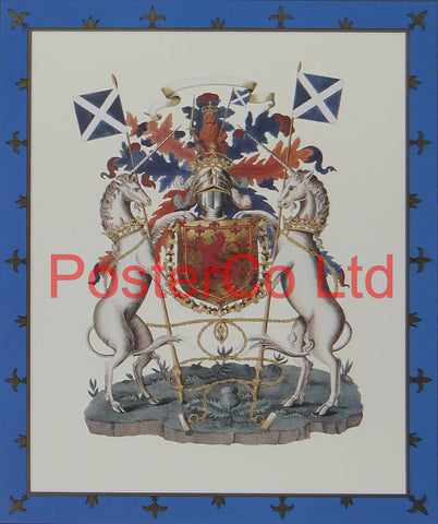 "Scottish Heraldry or Coat of Arms - Framed Print - 16""H x 12""W"