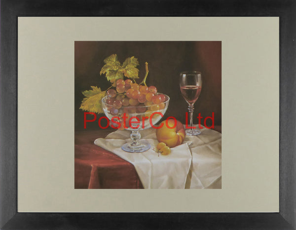 "Grapes in Bowl - Japiart - Framed Print - 12""H x 16""W"