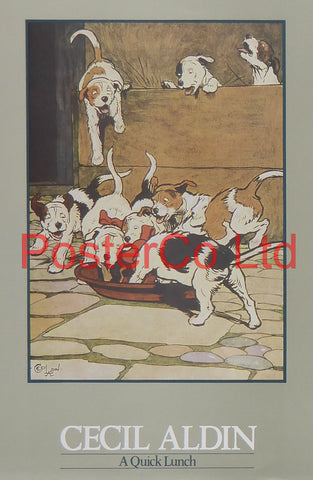 "A Quick Lunch (Hunting Dogs) - Cecil Aldin - Felix Rose 1986 - Framed Print - 16""H x 12""W"