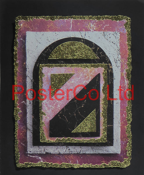 "Gold & Pink (1) (Abstract) - Frontline Graphics - Framed Print - 16""H x 12""W"