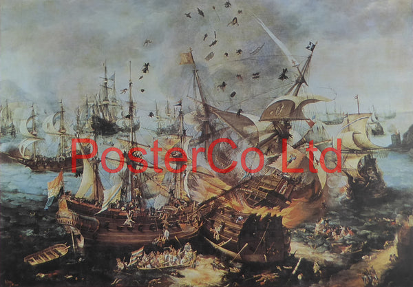 "The Battle of Gibraltar, 25th April 1607 - Cornelis Claesz van Wieringen - Framed Print - 12""H x 16""W"