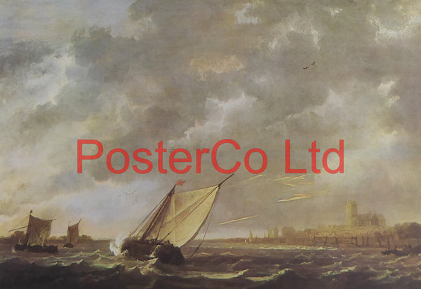 "The Maas at Dordrecht in a storm - Aelbert Cuyp - Framed Print - 12""H x 16""W"