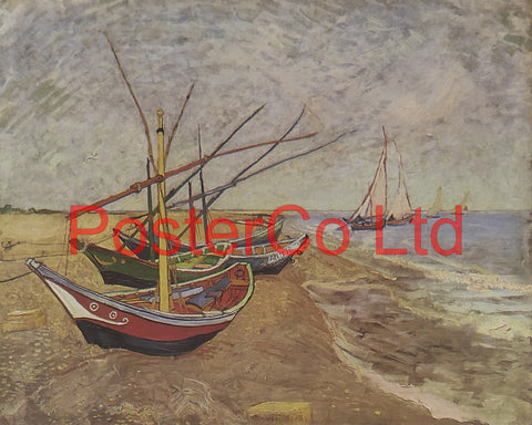 "Boats on the Beach, Saintes-Maries-de-la-Mer - Vincent Van Gogh - Framed Print - 12""H x 16""W"