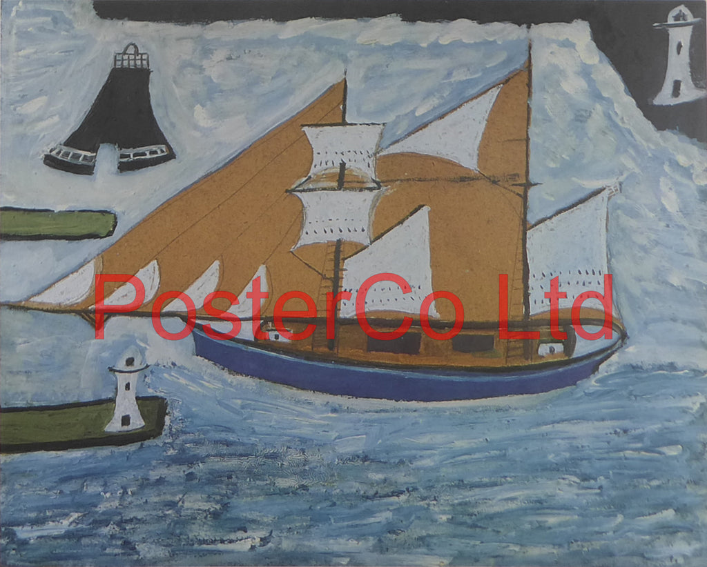 "The Blue Ship - Alfred Wallis - Framed Print - 12""H x 16""W"
